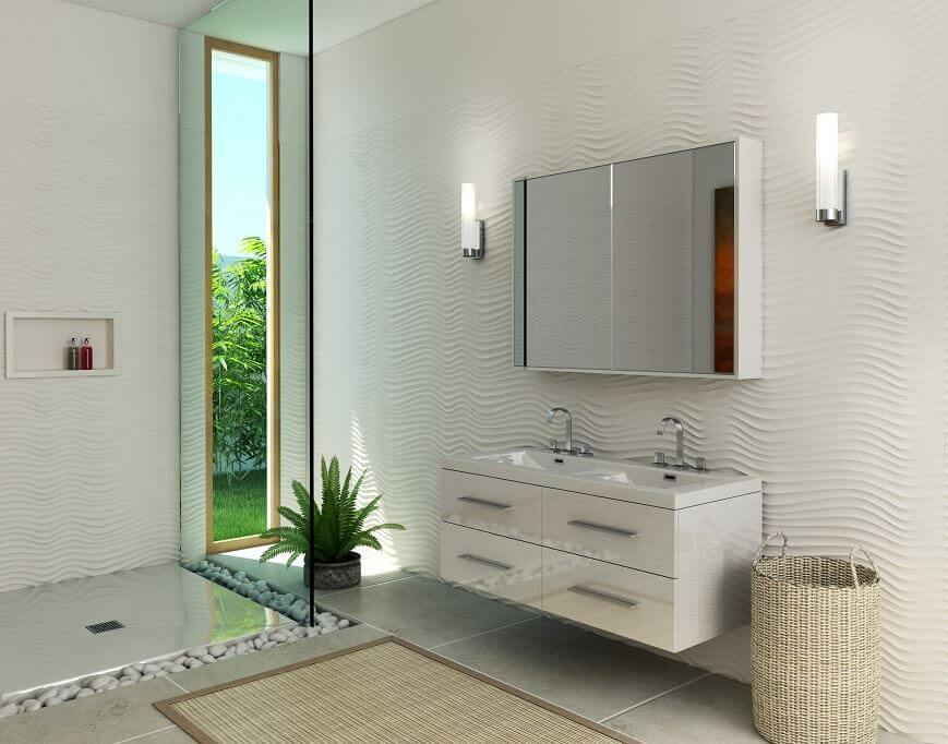 Wall panel with 2 sinks
