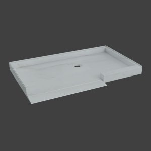 Shower floor with ramp, 1 threshold and 3 walls-M33