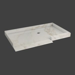 Shower floor with ramp, 1 threshold and 3 walls-M37