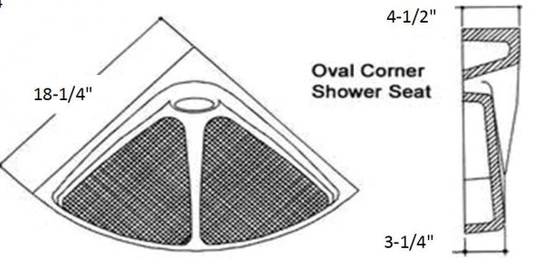 corner oval shower seat diagram