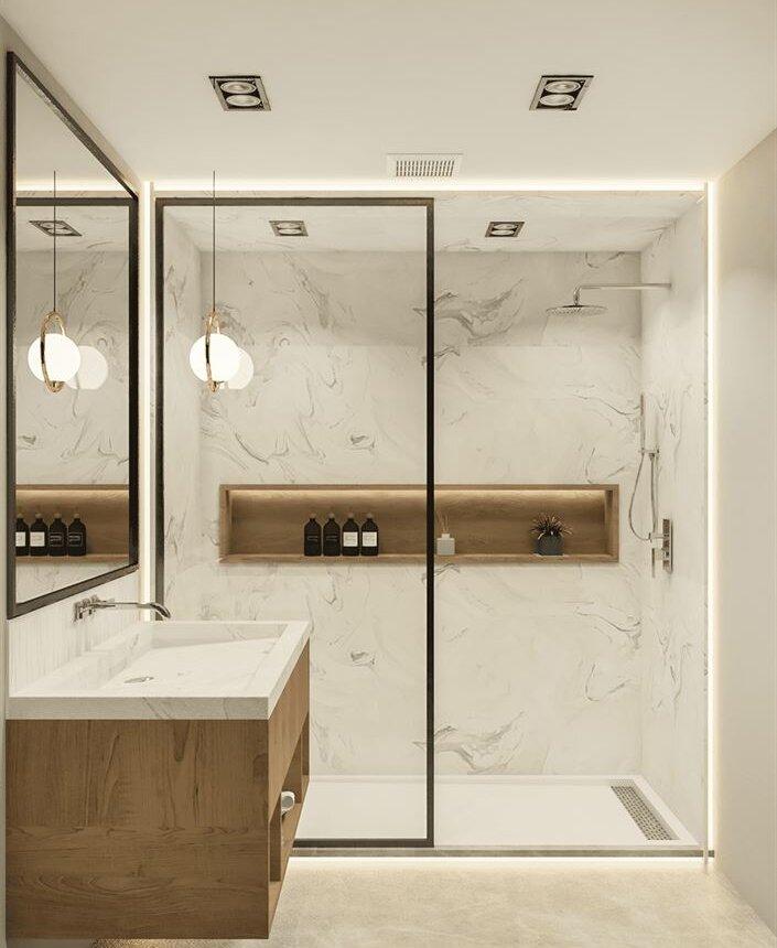 mirror infront of sink